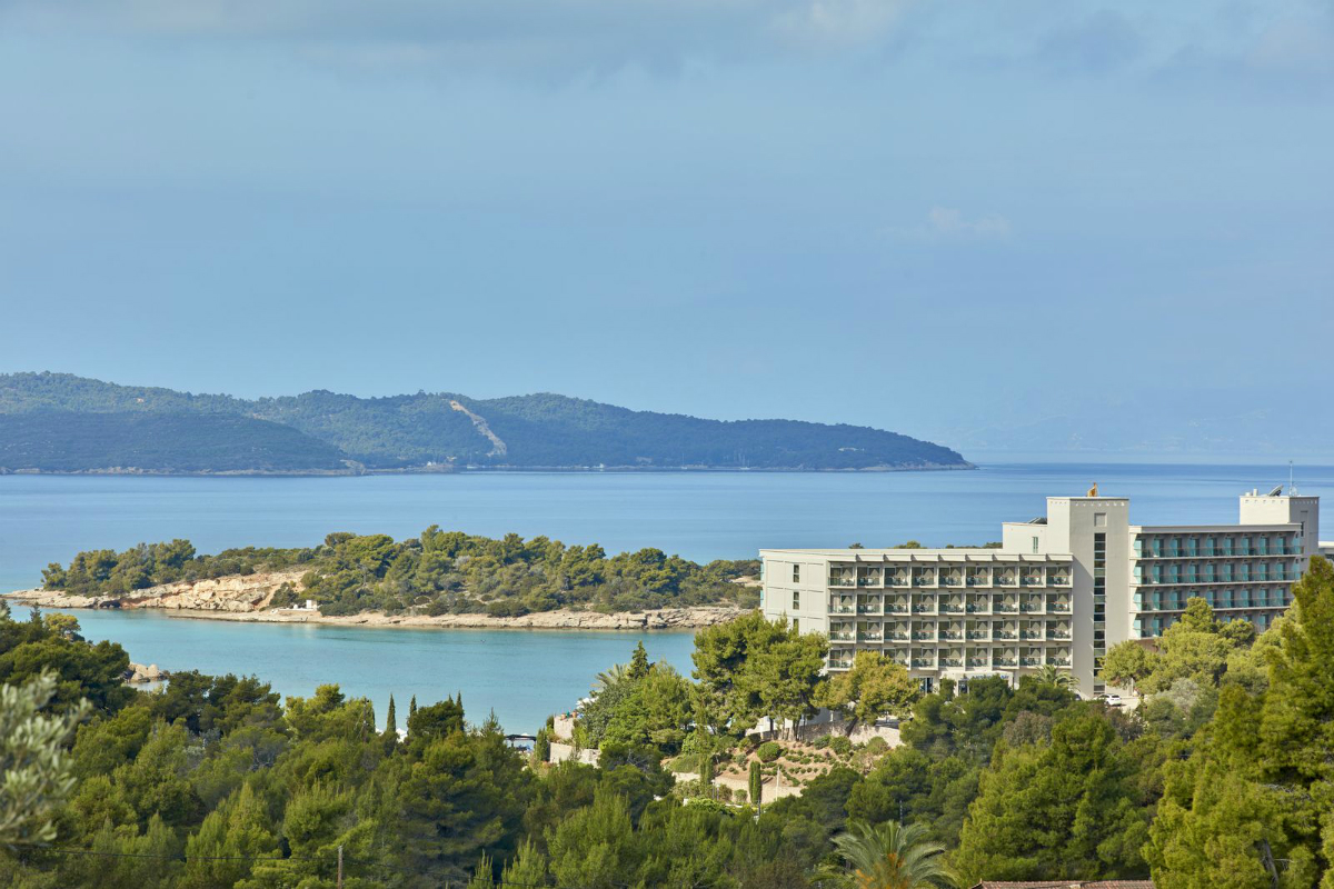 view from a hill/,mountain overlooking the greenery surrounding the porto help Peloponnese hotel