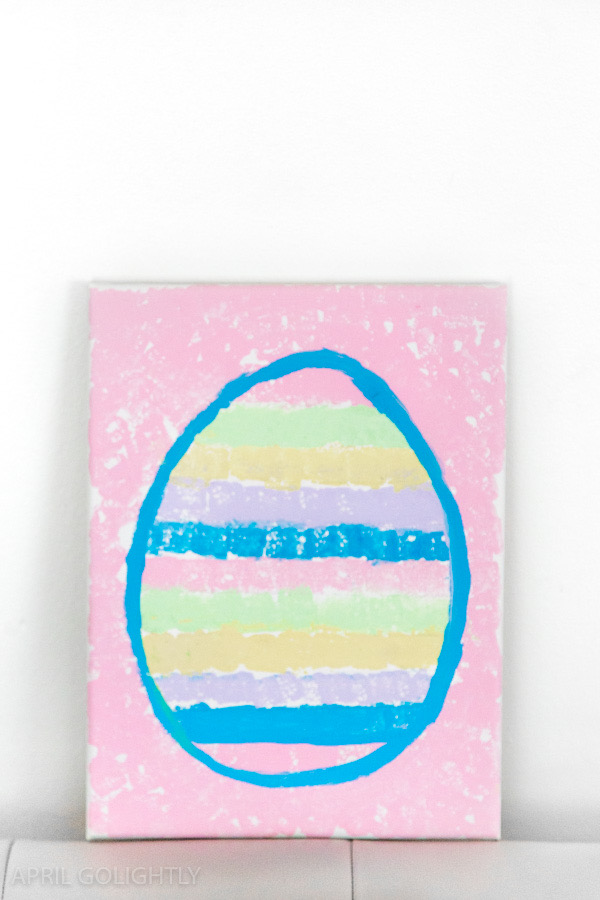 Easter egg painted on to a canvas block in pastel colours