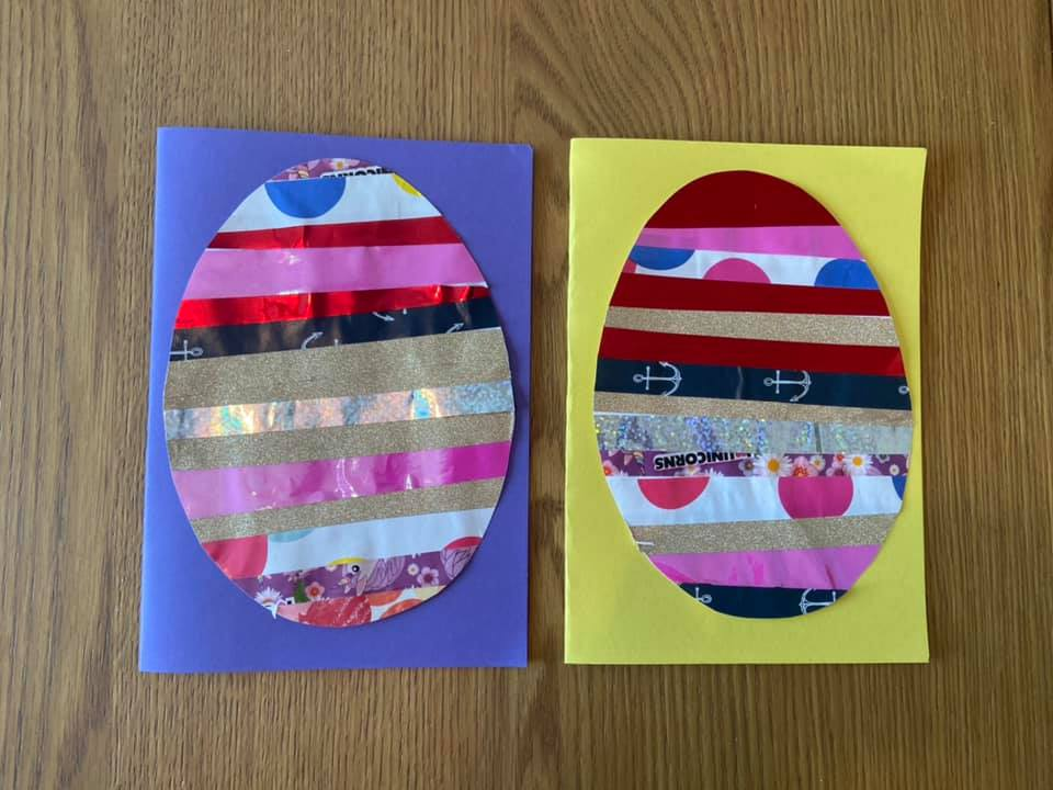 two Easter craft cads sitting on a table
