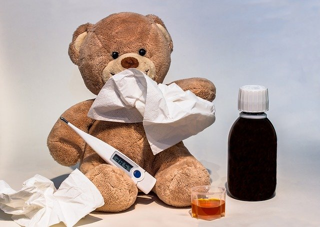 image of a teddy bear holding a thermometer alongside a medicine bottle