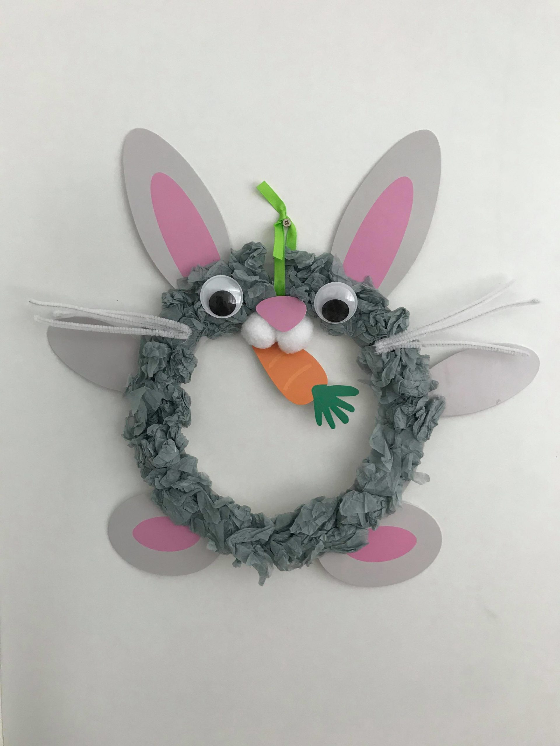 Grey Easter bunny craft made out of scrunched up tissue paper