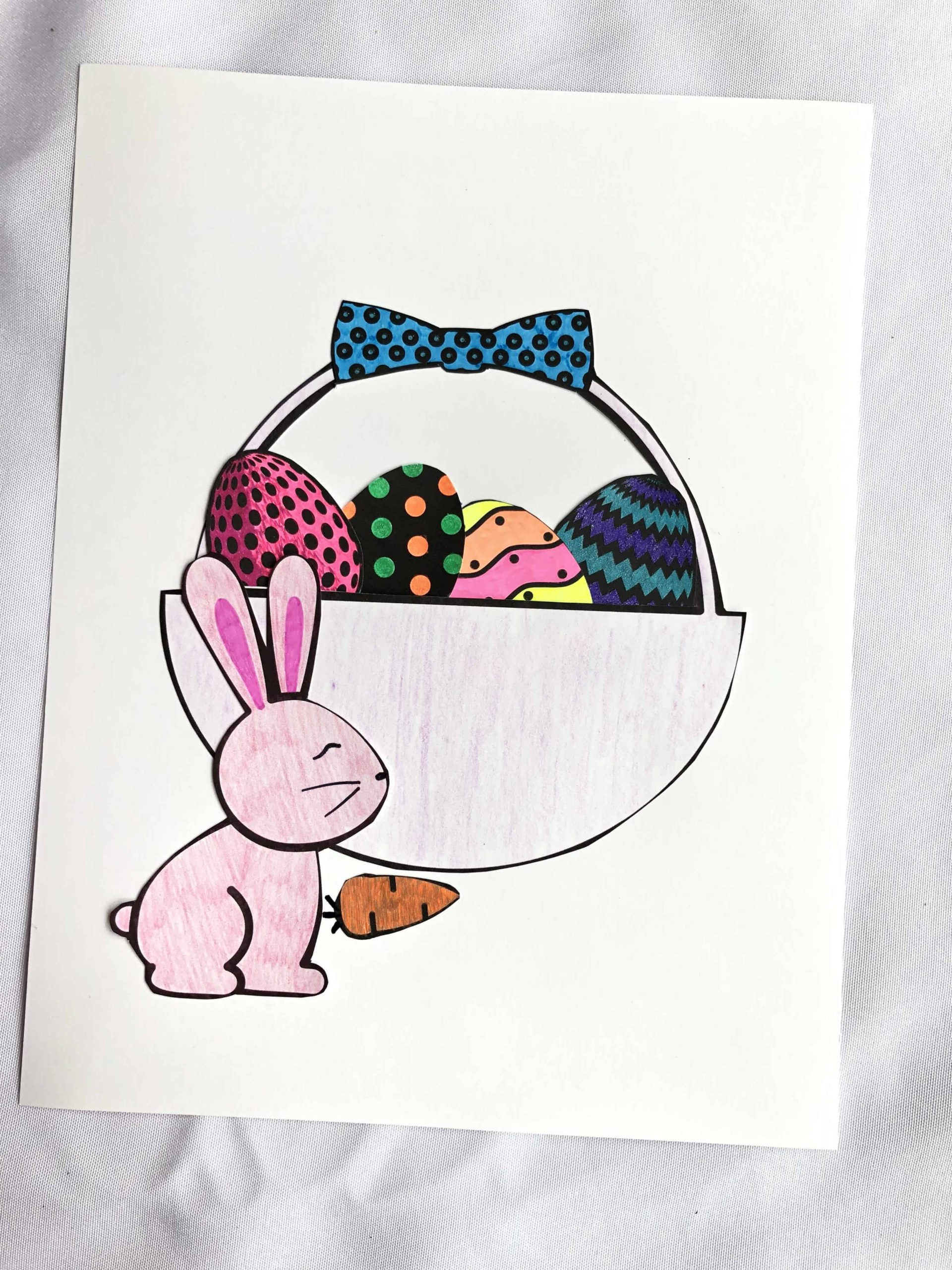 Easter basket paper craft to cut out and stick together