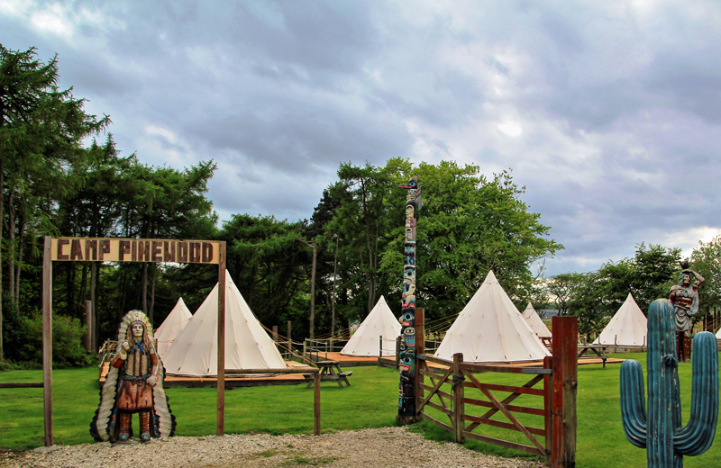 Wooden fencing and gates leading to a field with several white canvas teepees