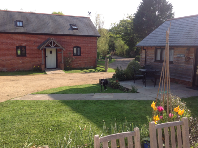 Pyesmead holiday cottage. A brick house with two windows and a white door in the middle with grass out to the front