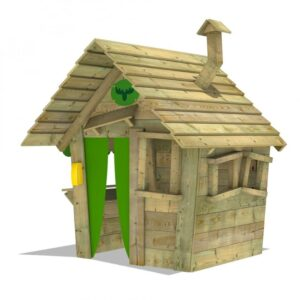 large wooden playhouse with a green door and two windows to the side and a window to the front