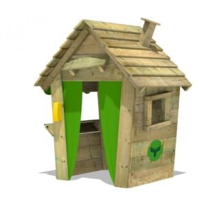 wooden playhouse with green doors with a small window to the side and a chimney coming out of the roof