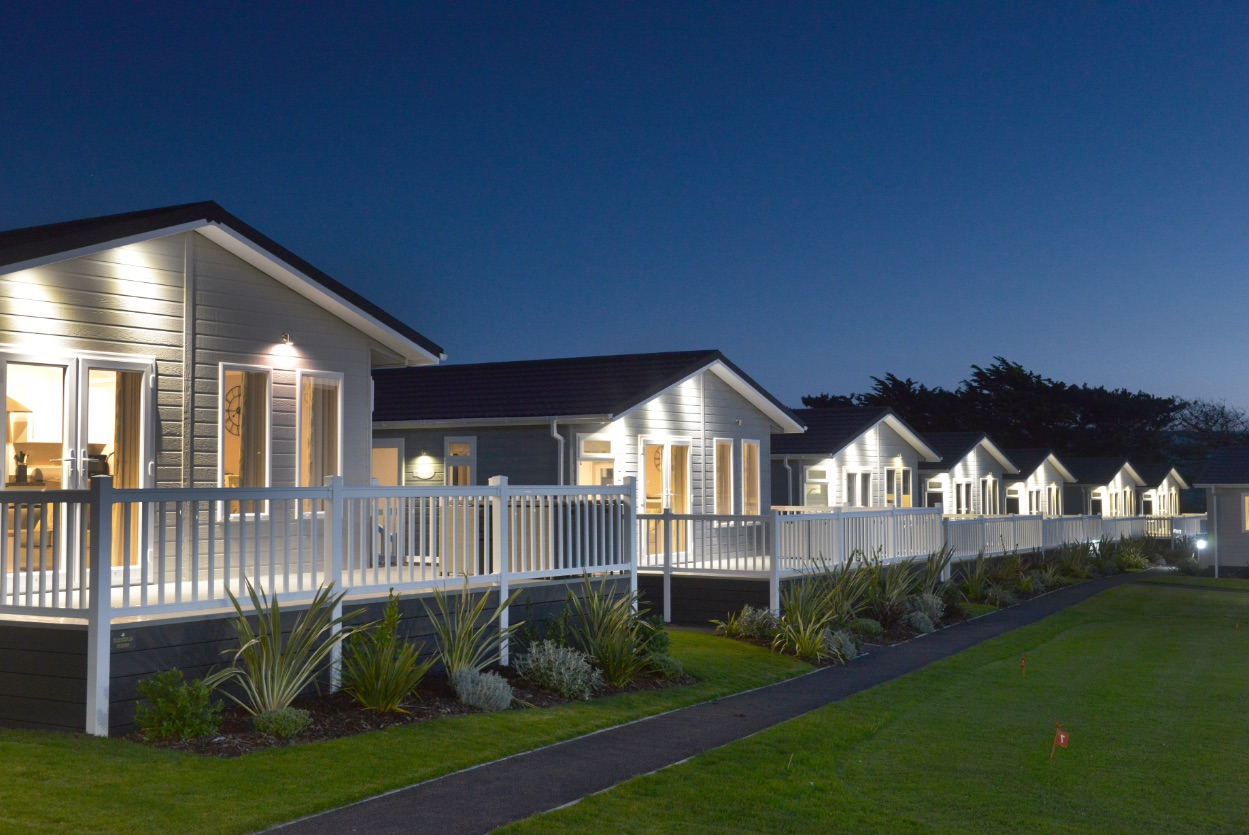 Croyde Bay white lodges in a line