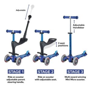 micro scooter in blue showing three different photos of how the scooter can be made up. One of a ride on with a seat, another as a ride on with a handle for an adult to push, and the thrird as a three wheeler scooter