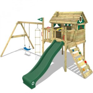wooden playhouses on stilts with a wooden climbing ladder to one side, and swings and rope ladder to the other side