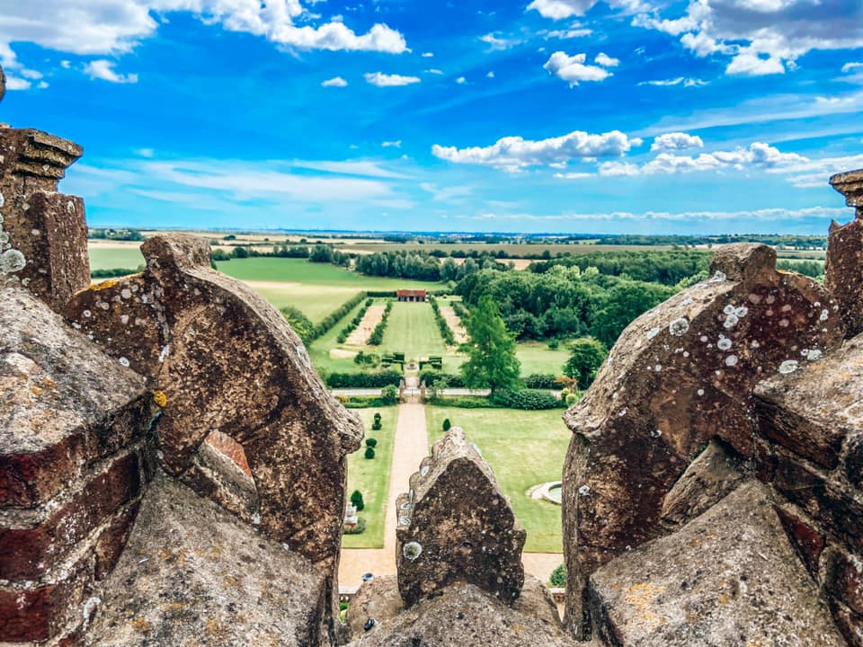 view from Layer marney tower overlooking the formal gardens and woods