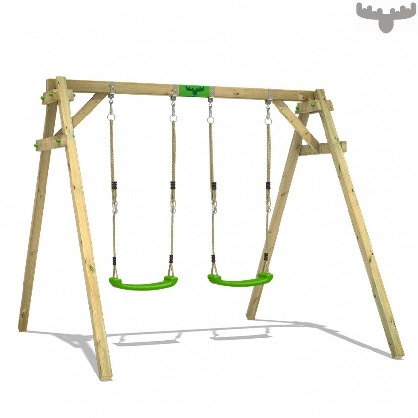 wooden frame with two swings
