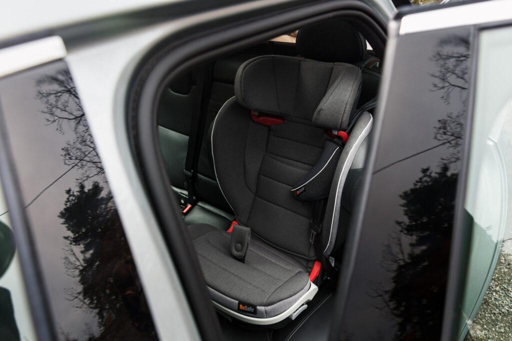 grey BeSafe iZi Flex FIX i-Size Car seat in the car