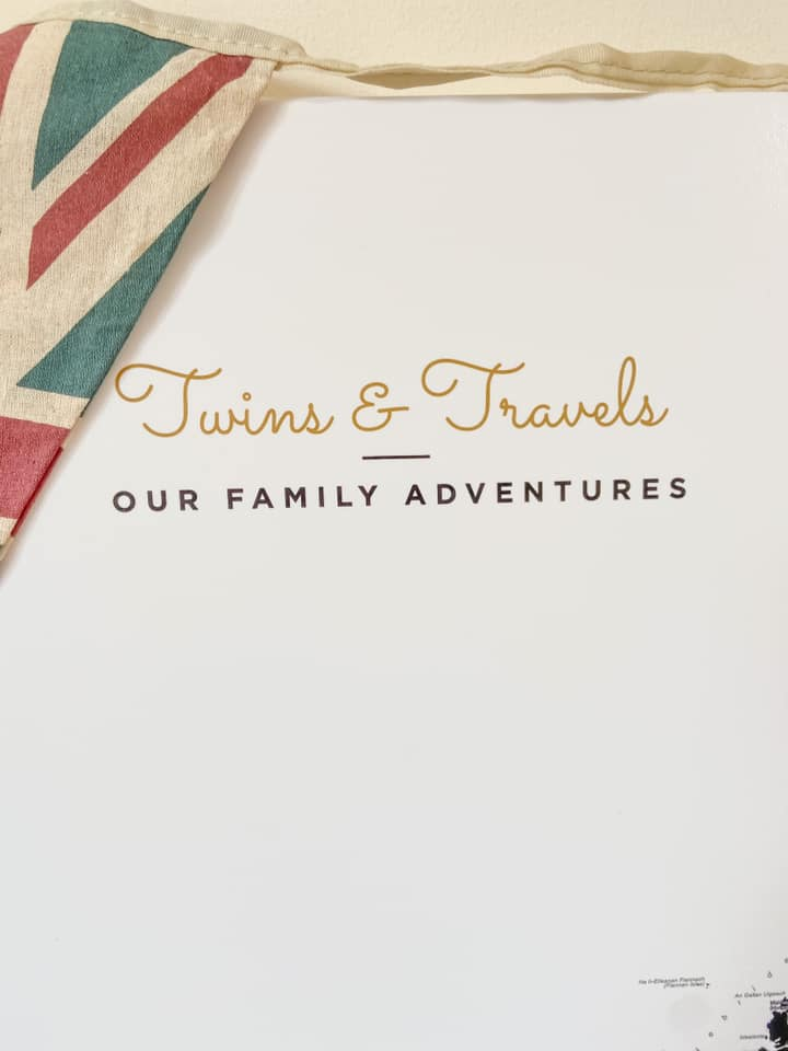 personalisation of a trip map - ours says Twins and Travels in gold