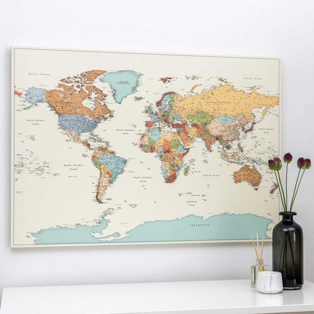 large colourful map of the world