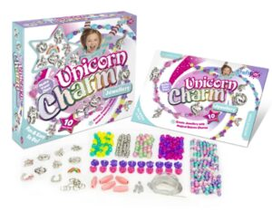 A box of Unicorn charm jewellery