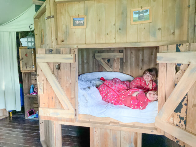 twins in the cupboard bed at Feather Down Farm