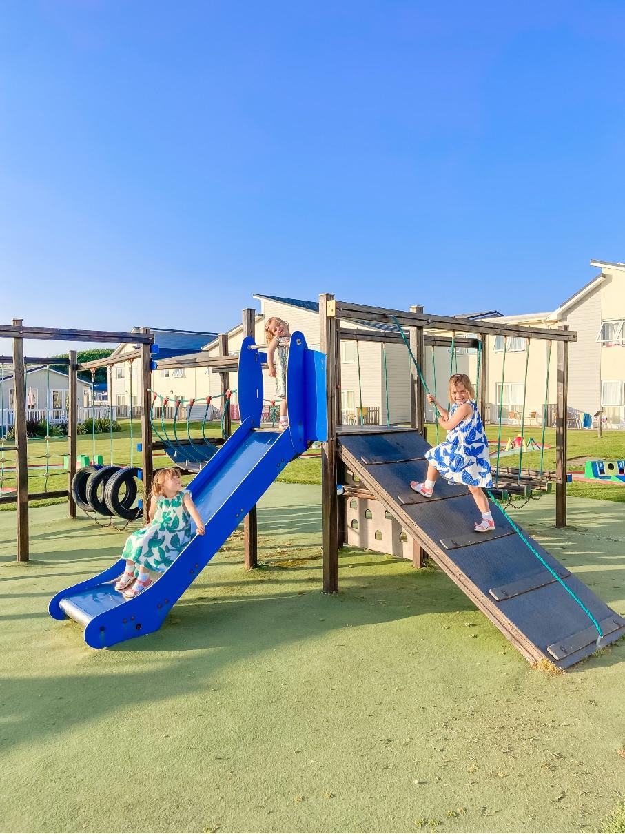 Children climbing on a climbing frame at Croyde Bay Resort