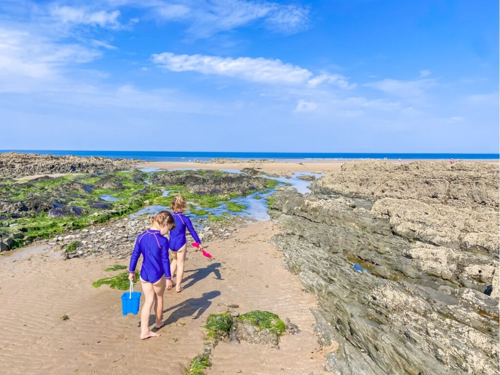 Children playing on the sand at Croyde Bay beach