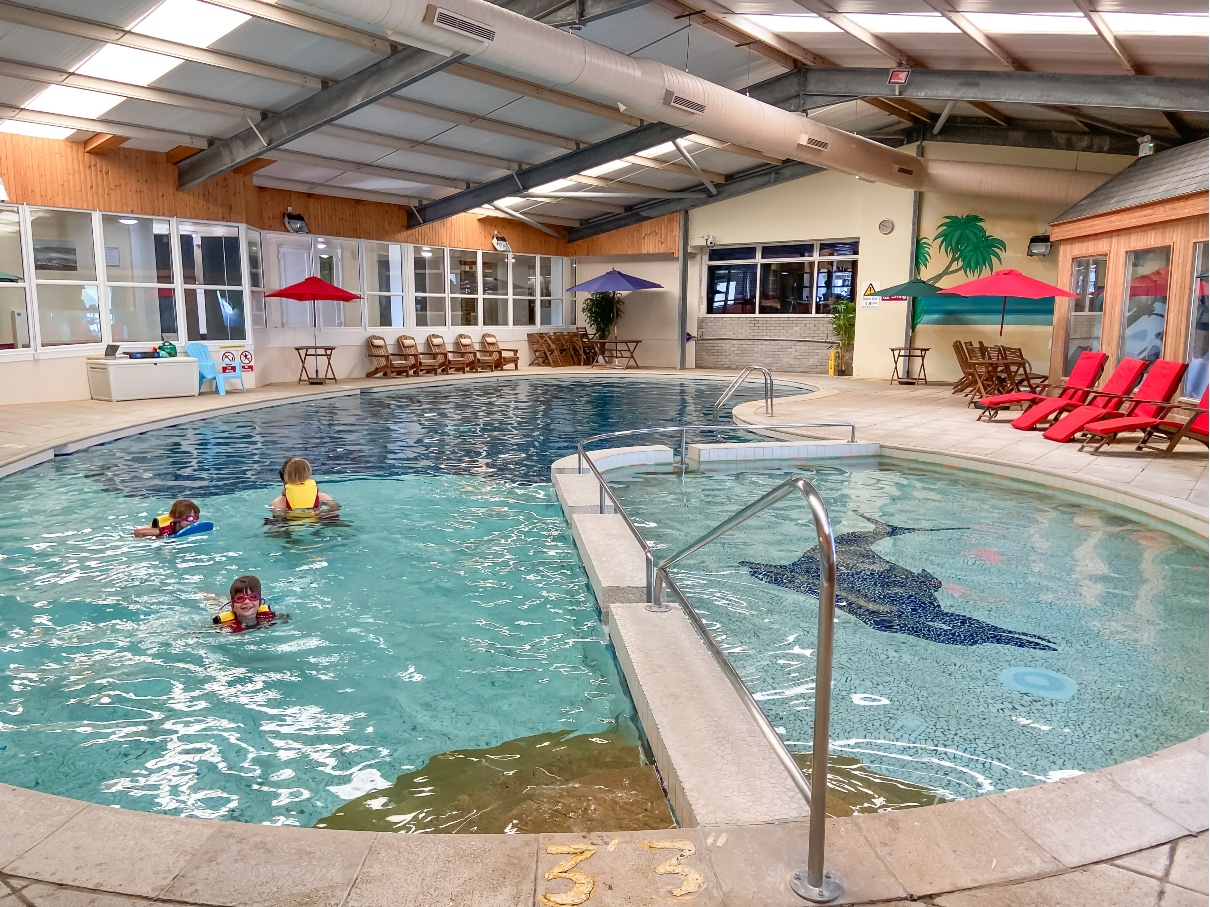 Swimming pool with children swimming at Croyde Bay Resort