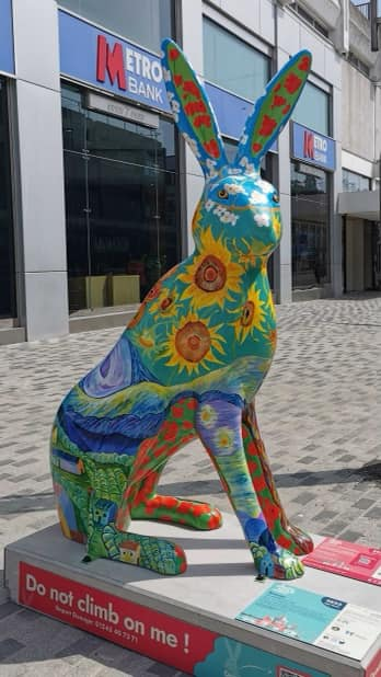 extra large hare decorated with sunflowers