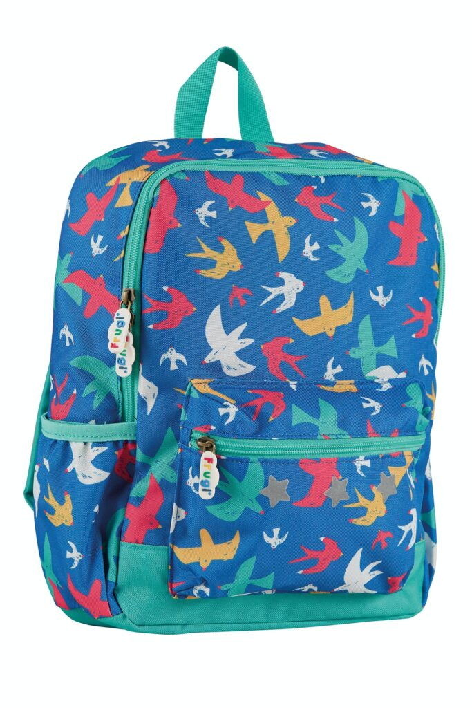 Bright blue backpack with red, yellow and green flying birds
