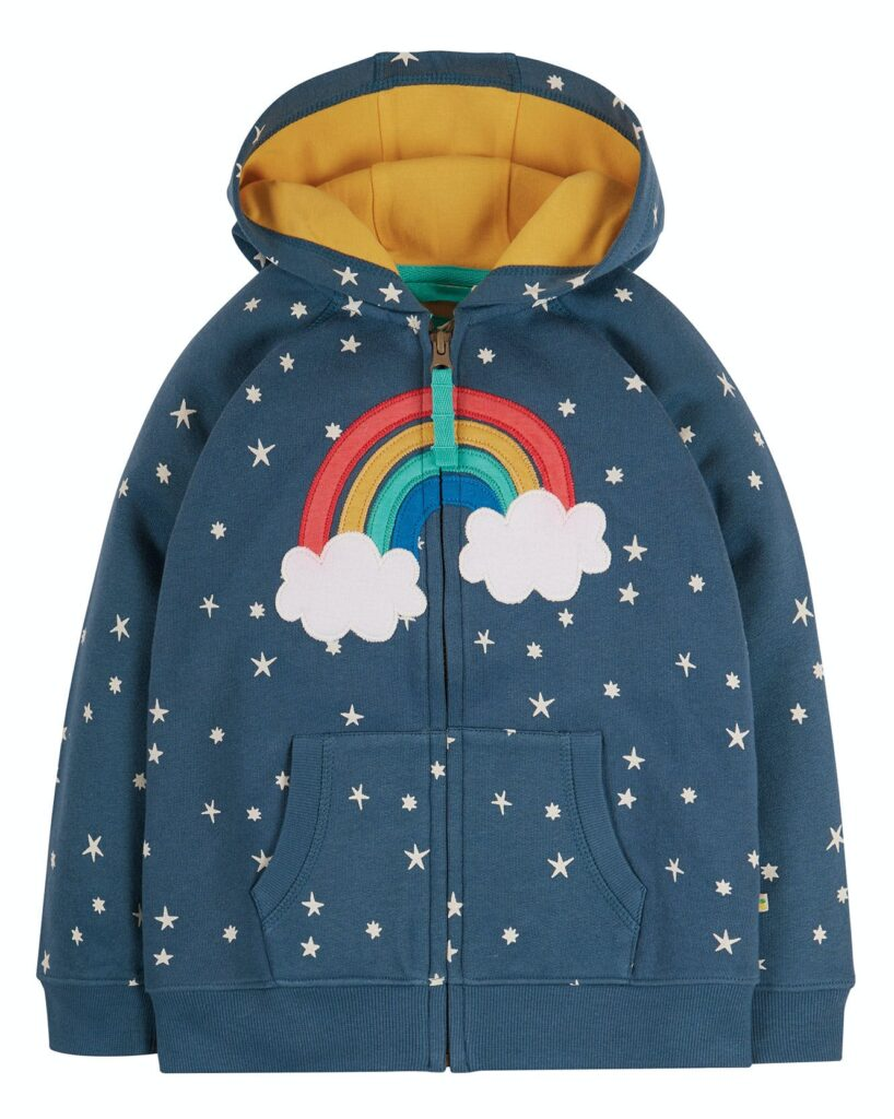 Girls navy hoodie with rainbow on the front