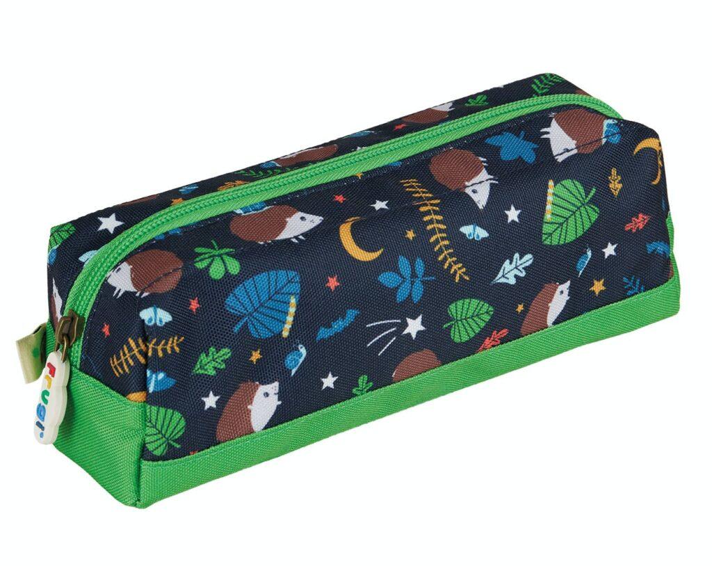 Navy pencil case with hedgehogs
