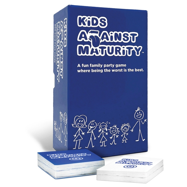 Kids against maturity game in a blue box presents for 6 year olds